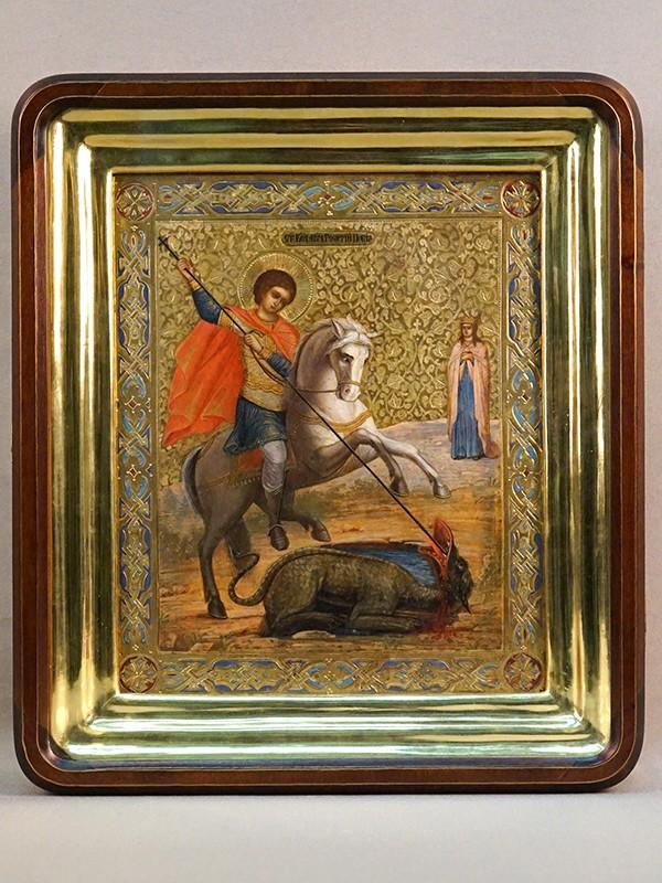 Икона в киоте «Святой Великомученик Георгий Победоносец», дерево, левкас, темпера, золочение, холодные эмали, конец XIX века, 26,5 × 22,5см