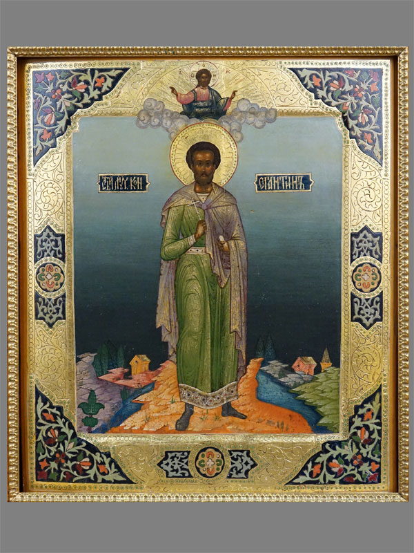 Икона в киоте «Святой мученик Константин», дерево, левкас, масло, темпера, золочение. Мстера, начало XX века, 31 × 26,2см. Атрибуция.