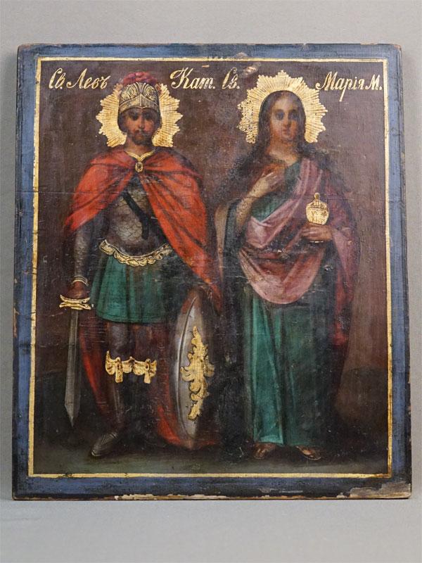 Икона «Святые Лев Катанский и Мария Магдалина», дерево, масло, золочение, XIX век,  31 × 26,5см