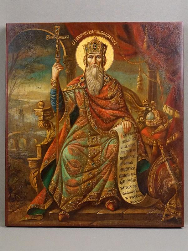 Икона «Святой Равноапостольный князь Владимир», дерево, темпера, золочение, конец XX века, 31 × 27см
