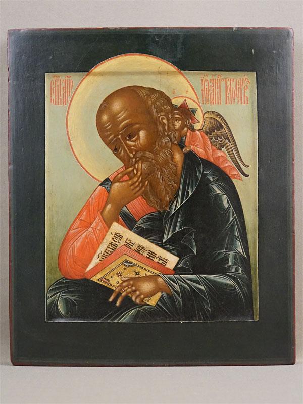 Икона «Святой Евангелист Иоанн Богослов», дерево, левкас, темпера, золочение, XIX век, 31 × 26см
