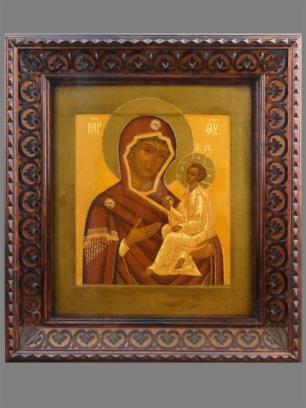 Икона в киоте «Пресвятая Богородица Тихвинская», дерево, левкас, темпера, золочение, XIX век, 35,5 × 30,5см