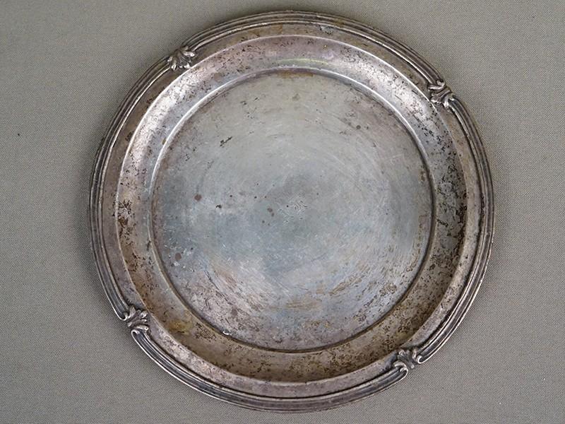 Поднос, серебро 84 пробы, общий вес 163г., диаметр 15,5см. Санкт-Петербург, 1846 год