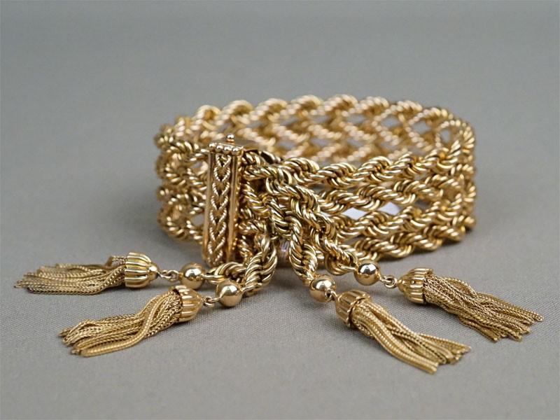 Браслет «Витой», золото по реактиву, общий вес 81,76г., длина 28см