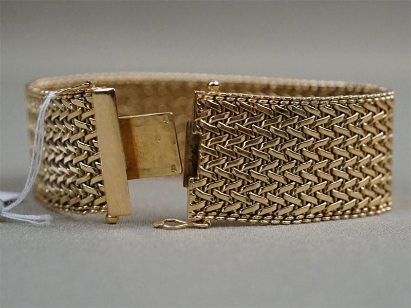 Браслет «Плетеный», золото по реактиву, общий вес 58,43г., длина 18см
