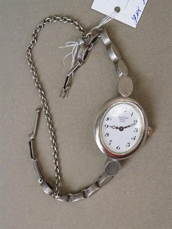 Часы наручные, серебро по реактиву, общий вес 36,64г. Германия, XX век.