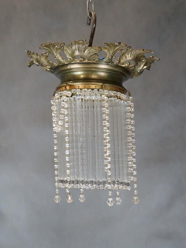 Ампель в стиле историзм, латунь, стекло, начало ХХ века, 1 световая точка (стандартный патрон Е-27), размер — 29 × 18см
