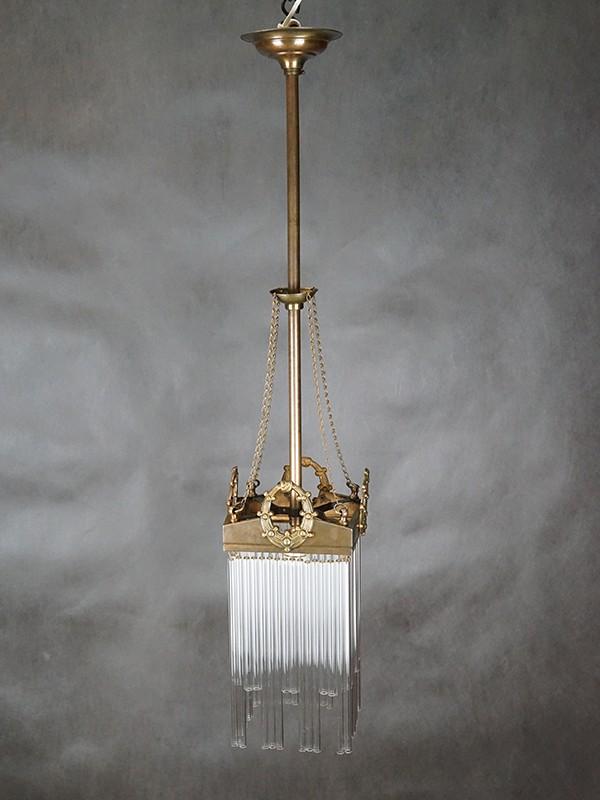 Ампель в стиле модерн, латунь, стекло, начало ХХ века, 1 световая точка (стандартный патрон Е-27), размер — 92 × 18см