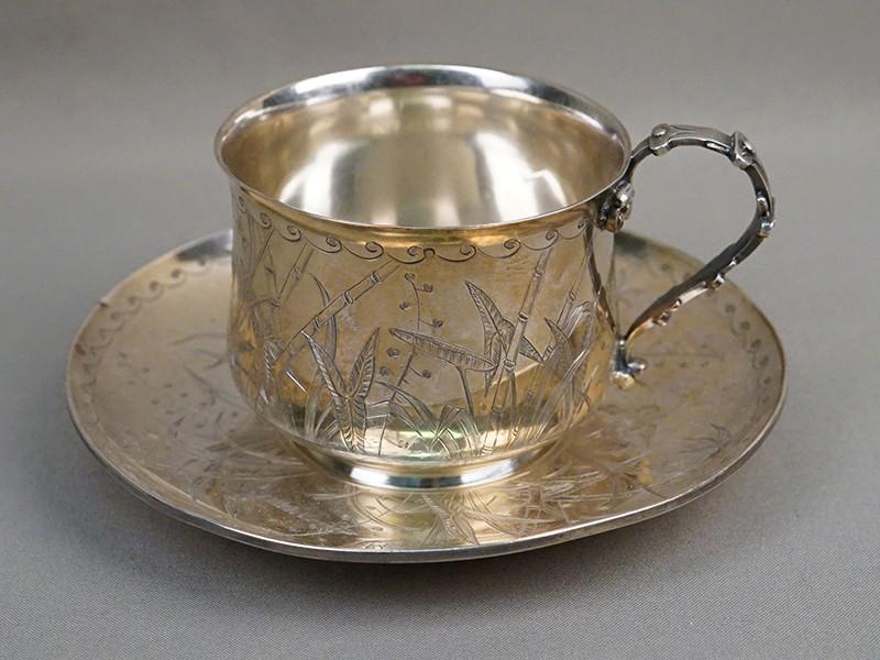 Чайная пара, серебро по реактиву, золочение, общий вес 312г. Западная Европа, конец XIX – начало XX века