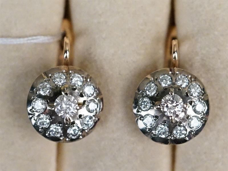 Серьги «Малинки», золото 583 пробы, общий вес 7,86г. Вставки: бриллианты (2бр Кр57 – 0,38ct 3/6; 20бр Кр57  — 0,92ct 4/5).  Экспертиза.