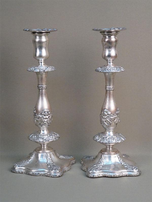 Пара подсвечников, металл, серебрение. Варшава, Fraget, 1840-е годы, высота 29см