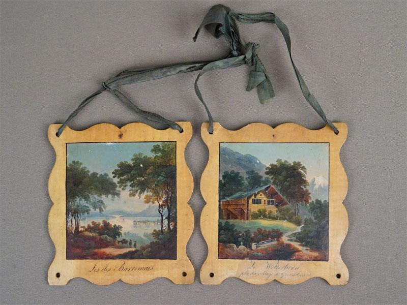 Пара миниатюр «Виды Италии», дерево, живопись, конец XIX века, 10,5 × 9,5см